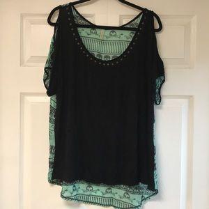 Tops - Black & Aqua Print Cold Shoulder Top